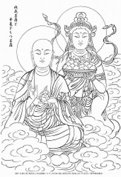画像1: 2020-29-来迎の地蔵菩薩と華篭を持つ菩薩-1600